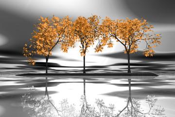 Obraz Trzy drzewa - fototapety do salonu
