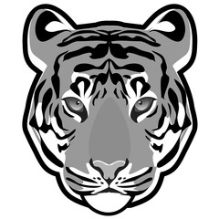 Tiger head grayscale vector