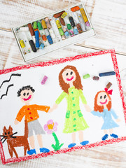 oil pastels drawing: single mother and kids