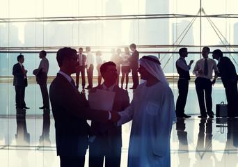 Business People Meeting Room Handshake Global Communication Conc