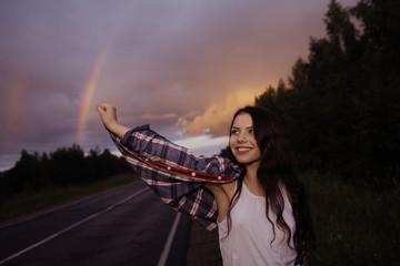 young girl teenager rainbow road