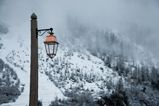 Lamp in the snow
