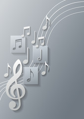 Music Notes Background, Vector Illustration