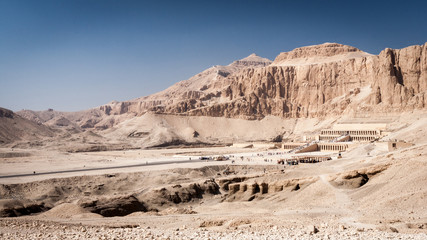 Mortuary Temple of Queen Hatshepsut, Egypt. A long distance view of the Mortuary Temple of Queen Hatshepsut on the west bank of the Nile near to the Valley of the Kings.
