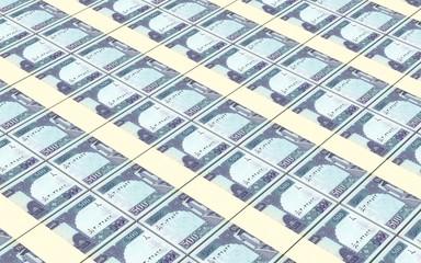Afghan afghani bills stacks background.