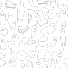 Food thin line icon seamless pattern.