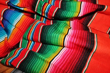 Mexican poncho serape background fiesta mexico cinco de mayo striped pattern background scrunched wrinkled stock photo photograph image picture