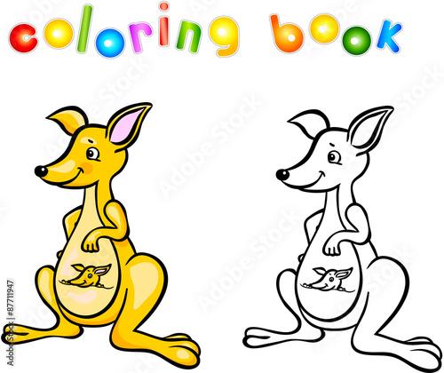Funny Cartoon Kangaroo Coloring Book Stock Photo And Royalty Free