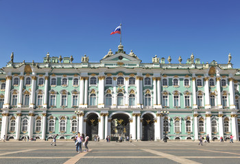 the Palace square  in front of the Winter Palace in Sunny summer day