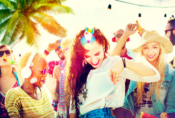 Friendship Dancing Bonding Beach Happiness Joyful Concept