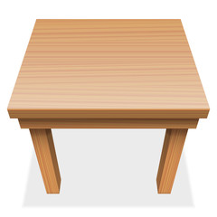 Wooden table - perspective view from above - isolated vector illustration on white background.