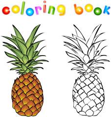 Cartoon pineapple coloring book
