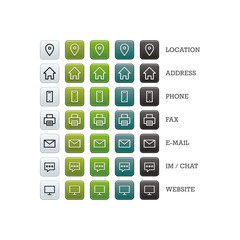 Multipurpose business card set of web icons for business, finance and communication