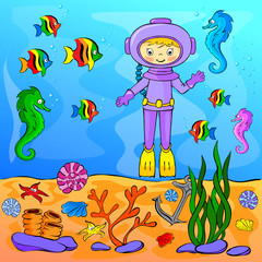 Underwater world with diver