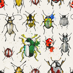 Seamless pattern with beetles.