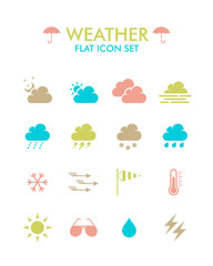 Vector Flat Icon Set - Weather