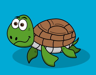 happy turtle swimming on blue background