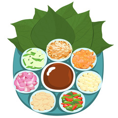 Leaf wrapped salad bite Thai appetizer vector illustration