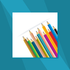 colorful pencil with education concept vector