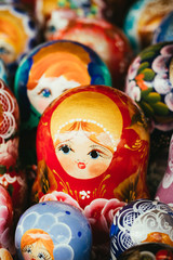 Colorful Russian Nesting Dolls Matrioshka At Market