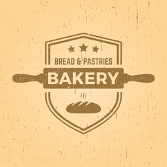 bakery label on yellow grunge background
