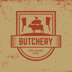 butchery label on grunge background