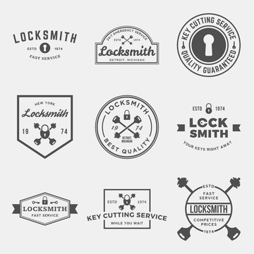 vector set of locksmith labels, badges and design elements