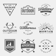 vector set of wilderness and nature exploration vintage  logos