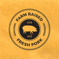 premium pork label with grunge texture on old paper background