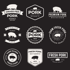 vector set of premium pork labels, badges and design elements