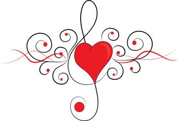 Tatuaggio tribale con cuore rosso e chiave violino
