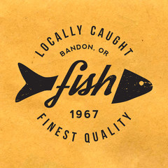 fresh fish label with grunge texture on old paper background