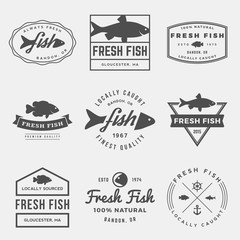 vector set of fresh fish labels, badges and design elements