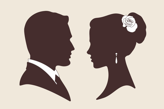 Vector silhouettes of groom and bride