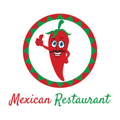 Mexican pepper cartoon character