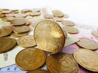 Ukrainian money (hryvnia) on a white background