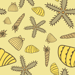 hand drawn yellow seamless sea pattern
