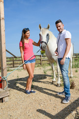 handsome young man veterinary taking care of a beautiful white and gray camargue horse