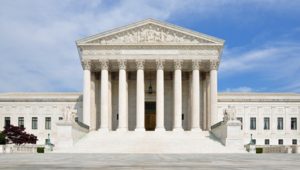 The front facade of the United States Supreme Court in Washington DC, USA.