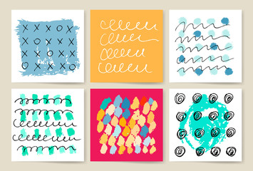 Vector set of grunge brush strokes collection.