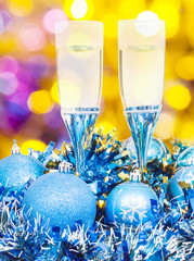 glasses, blue Xmass balls on blurry background 5