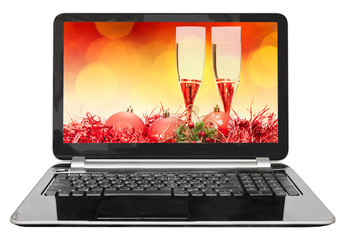 red ball and glasses on screen of laptop