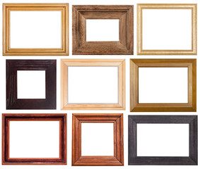 set of 9 pcs wide wooden picture frames