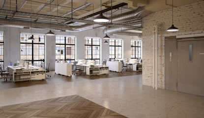 Office Agengy in Chicago Industrial Loft Apartment - Agentur Bü
