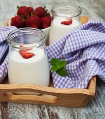 Strawberry fruit yogurt with fresh strawberries
