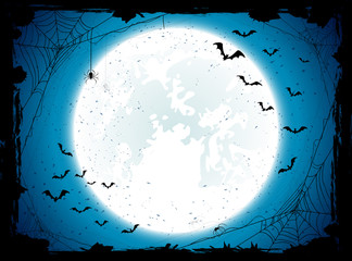 Blue Halloween background with bats