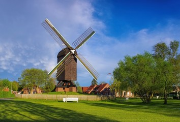Aluminium Prints Mills Papenburg Bockwindmuehle - post mill Papenburg 01