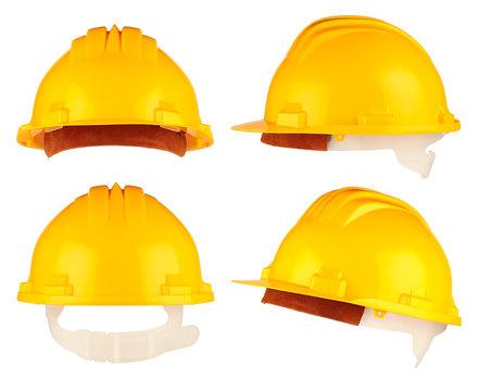yellow building-site helmet set
