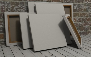 Blank Canvas on exposed brick wall
