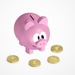piggy bank with coins over bright background